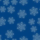 Simply childish seamless snow-flakes pattern royalty free stock images