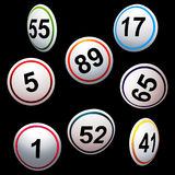 Simply 3D bingo lottery numbers over black Royalty Free Stock Image
