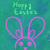 Simply Easter  Bunny on painted in green background Stock Photos