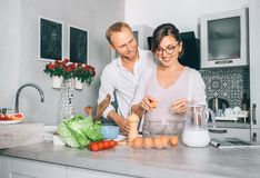 Simply family moments - couple prepare breakfast Stock Photo