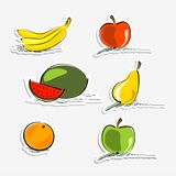 Simply fruit stickers Royalty Free Stock Photography