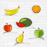 Simply fruit stickers Stock Image