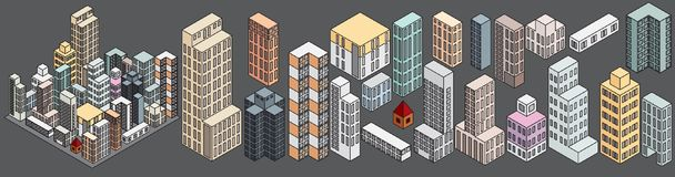 Simply Isometric Buildings. Vector Stock Images