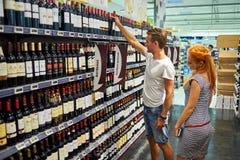 Simply Market supermarket interior. BEGLES, FRANCE - AUGUST 13, 2015: Simply Market supermarket customers. Simply Market is a brand of French supermarkets formed stock images