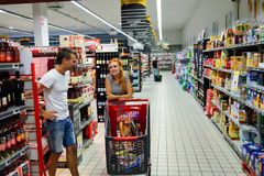 Simply Market supermarket interior. BEGLES, FRANCE - AUGUST 13, 2015: Simply Market supermarket customers. Simply Market is a brand of French supermarkets formed royalty free stock images