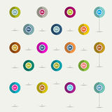 Simply minimalistic flat 24 hours symbol icon set. Color shadows pictograms Royalty Free Stock Photos