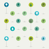 Simply minimalistic flat trees symbol icon set. Royalty Free Stock Photos