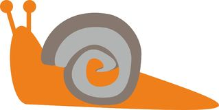 Simply orange snail with brown and gray shell. Vector illustration