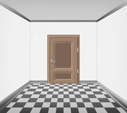Simply room closed door and checked paved floor Royalty Free Stock Photo