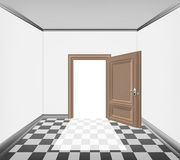 Simply room open door and checked paved floor Stock Images
