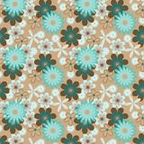 Simply seamless blue flowers on beige background Royalty Free Stock Photo