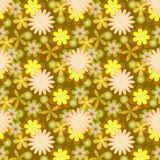 Simply seamless yellow flowers on brown background Royalty Free Stock Photography