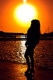 Simply silhouette of the beautiful girl Stock Image