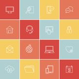 Simply social, media, web icons. Set of thin flat icons in minimal style Royalty Free Stock Photography
