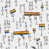 Simply stylized massive LGBT demonstration sample pattern texture element royalty free illustration