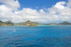 Simpson-Baai - Caraïbisch tropisch eiland - Zonde Maarten stock foto's