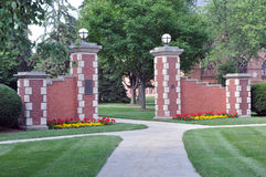 Simpson College gate Stock Photo