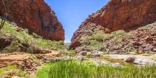 Simpsons Gap es uno de los huecos en las gamas del oeste de MacDonnell en el Territorio del Norte de Australia Foto de archivo