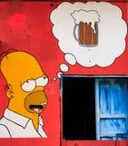 Simpsons ilustracja na domu w Salwador Fotografia Stock