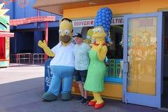 Simpsons på universella studior Hollywood arkivbilder