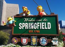 The Simpsons Welcome to Springfield sign. At Universal Studios, CA, with Lisa, Nelson, and Ralph on it Stock Images