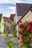 Simrishamn Sweden. Image of a little street of townhouses in Simrishamn, Sweden. Slightly noisy Royalty Free Stock Photo