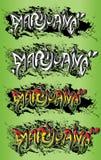 Simsen grungy Beschaffenheitsgraffiti des Marihuanaunkrauttopfdesigns Stockbild