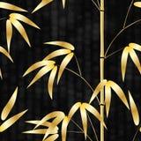Simsen nahtloses Muster gezeichneter Bambus der japanischen Art auf einem Hintergrund mit Hieroglyphen Vektorillustration Lizenzfreie Stockfotos