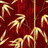 Simsen nahtloses Muster gezeichneter Bambus der japanischen Art auf einem Hintergrund mit Hieroglyphen Vektorillustration Stockbild