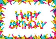 Simsen Sie alles Gute zum Geburtstag mit netten Formen und Farben dekorativ Lizenzfreie Abbildung