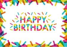 Simsen Sie alles Gute zum Geburtstag mit netten Formen und Farben dekorativ Stock Abbildung