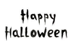 Simsen Sie Aufschrift die glückliche Halloween-Schwarzfarbe, die auf weißem Hintergrund lokalisiert wird lizenzfreie stockbilder