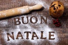 Simsen Sie buon natale, frohe Weihnachten auf italienisch stockfoto