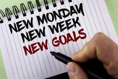 Simsen Sie das Zeichen, das neuem Montag neue Wochen-neue Ziele zeigt Begriffsdes fotos Beschlüsse nächste Woche, die Liste Ziel- Lizenzfreies Stockfoto