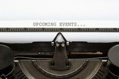 Simsen Sie die bevorstehenden Veranstaltungen, die in Weinleseart Verfasser ab 1920 s geschrieben werden Lizenzfreie Stockbilder