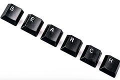 Simsen Sie die Suche, die mit ComputerTasten auf weißem backgrou gebildet wird Lizenzfreies Stockfoto