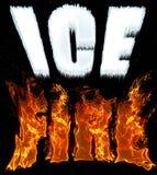 Simsen Sie Eis und Feuer in den eisigen weißen und brennenden roten Buchstaben auf schwarzem kosmischem Hintergrund Stockfoto