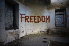 Simsen Sie Freiheit auf der schmutzigen alten Wand in einem verlassenen Haus Lizenzfreie Stockbilder