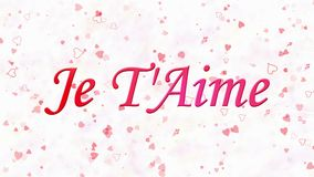Simsen Sie ich liebe dich auf Französisch Je T'Aime, das vom Staub und von den Drehungen gebildet wird, um horizontal auf weißem  stock abbildung