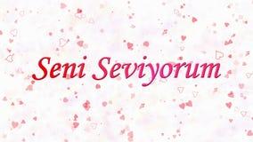 Simsen Sie ich liebe dich auf Türkisch Seni Seviyorum, das vom Staub und von den Drehungen gebildet wird, um horizontal auf weiße vektor abbildung