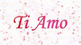 Simsen Sie ich liebe dich in italienischem Ti-Amo, das vom Staub und von den Drehungen gebildet wird, um horizontal auf weißem Hi stock abbildung