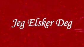 Simsen Sie ich liebe dich in Norweger Jeg Elsker Grad, der vom Staub und von den Drehungen gebildet wird, um horizontal auf rotem lizenzfreie abbildung