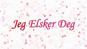 Simsen Sie ich liebe dich in Norweger Jeg Elsker Grad, der vom Staub und von den Drehungen gebildet wird, um horizontal auf weiße lizenzfreie abbildung