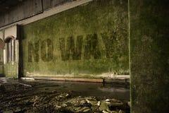Simsen Sie keine Weise auf der schmutzigen Wand in einem verlassenen ruinierten Haus Stockbilder