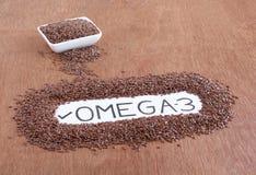 Simsen Sie ` Omega-3 `, das auf einem Papier handgeschrieben ist, das durch Leinsamen umgeben wird stockbild