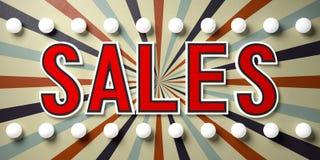 Simsen Sie Verkäufe auf einem Weinlesezirkus-Artzeichen mit Glühlampen Abbildung 3D Lizenzfreie Stockfotografie