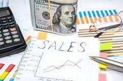 Simsen Sie Verkäufe am Notizbuch mit analytischen Diagrammen und Diagrammen Lizenzfreie Stockfotos