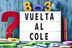 Simsen Sie vuelta Al Cole, zurück zu Schule auf spanisch Lizenzfreies Stockbild