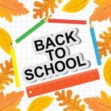 Simsen Sie zurück zu Schule mit buntem Text und Zeichnungen, durch gefärbt lizenzfreie abbildung