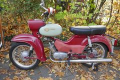 Simson vintage motorcycle, Simson SR 4 Star. October 20, 2018, Hamburg-Volksdorf, Germany, Old red motorcycle from Suhl, Thuringia, GDR The SR4 series is part of royalty free stock photo